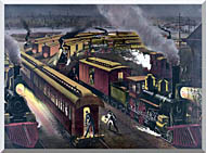 Currier And Ives Night Scene At A Railroad Junction stretched canvas art