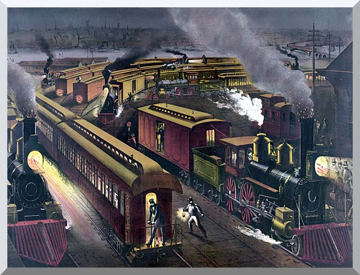 Currier and Ives Night Scene at a Railroad Junction stretched canvas art print