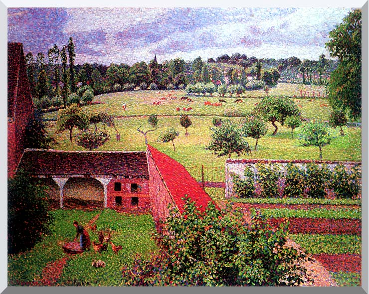 Camille Pissarro View from the Artist's Window at Eragny stretched canvas art print