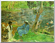 Paul Gauguin By The Pond stretched canvas art