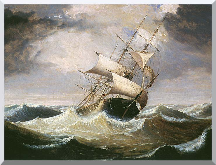 Fitz Hugh Lane Three-Master on Rough Sea stretched canvas art print