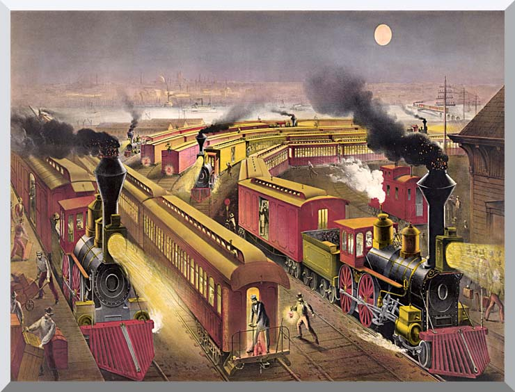 Currier and Ives Night Scene at an American Railway Junction stretched canvas art print
