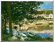 Claude Monet On The Seine At Bennecourt stretched canvas art