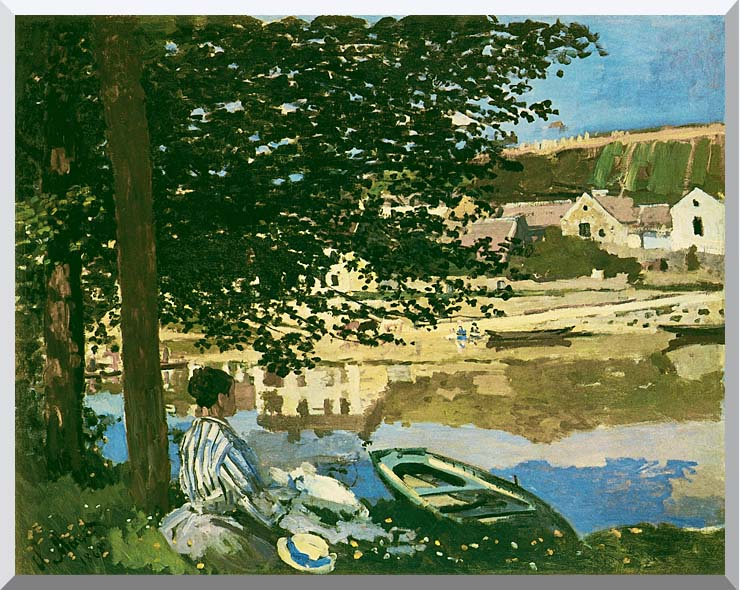 Claude Monet On the Seine at Bennecourt stretched canvas art print
