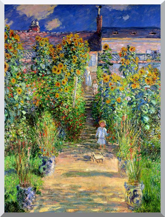 Claude Monet The Artist's Garden at Vetheuil stretched canvas art print