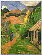 Paul Gauguin Street In Tahiti stretched canvas art