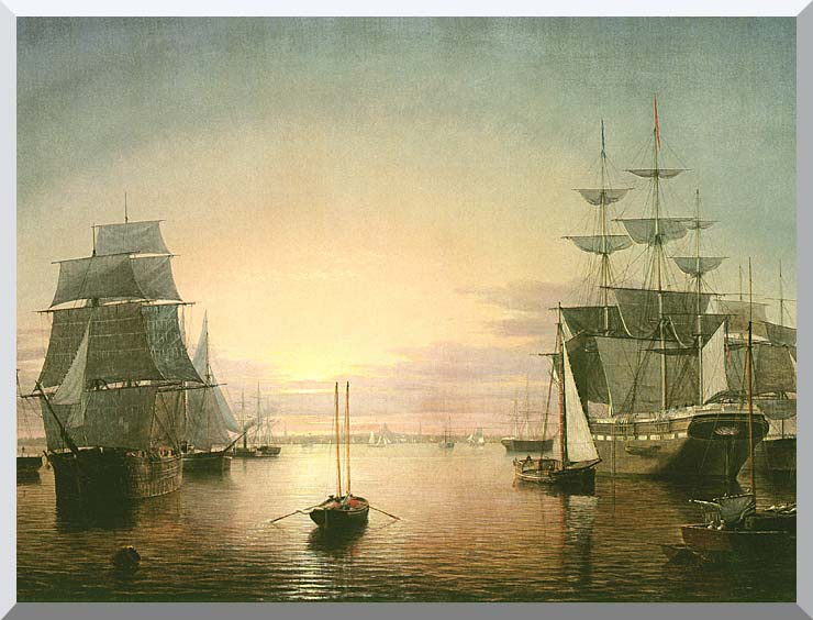 Fitz Hugh Lane Boston Harbor at Sunset stretched canvas art print