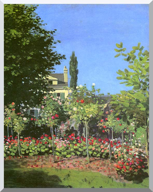Claude Monet Garden in Bloom stretched canvas art print