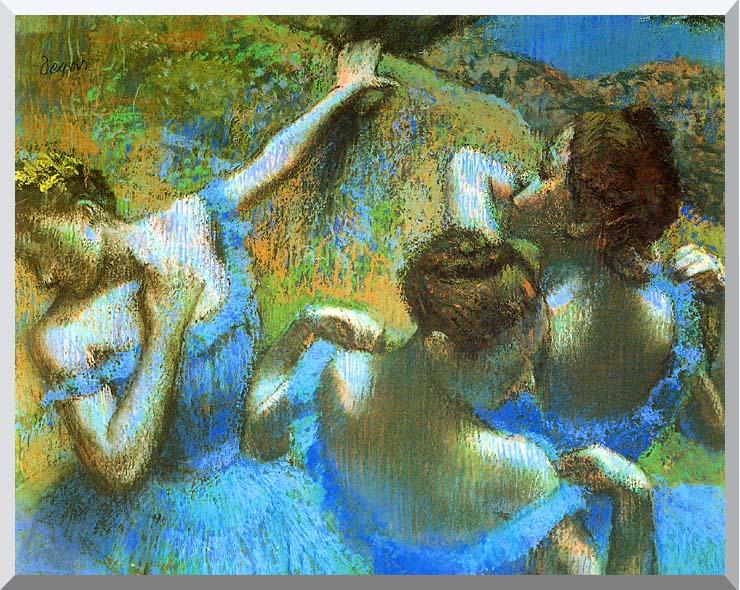 Edgar Degas Blue Dancers (detail) stretched canvas art print