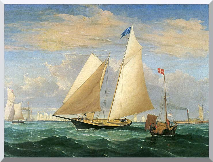 Fitz Hugh Lane The Yacht America Winning the International Race stretched canvas art print