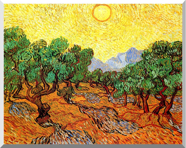 Vincent van Gogh Olive Trees with Yellow Sky and Sun stretched canvas art print