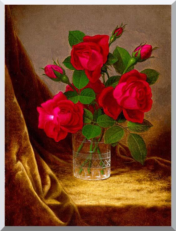 Martin Johnson Heade Jacqueminot Roses stretched canvas art print