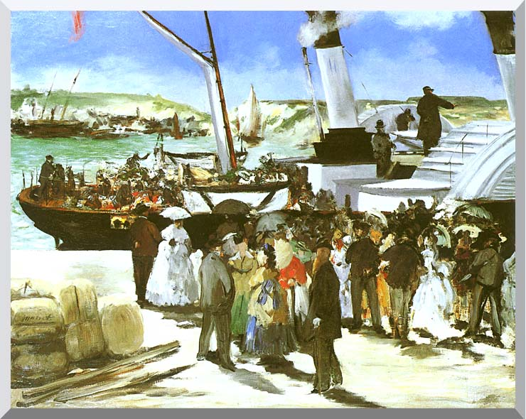 Edouard Manet The Departure of the Folkestone Boat stretched canvas art print