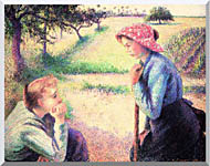Camille Pissarro The Chat stretched canvas art