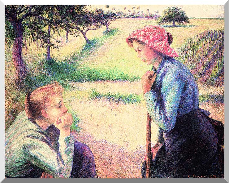 Camille Pissarro The Chat stretched canvas art print