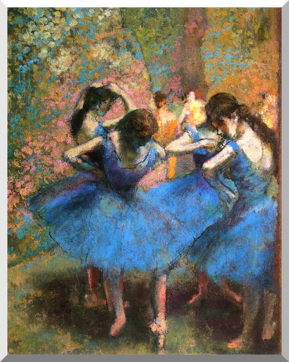 Edgar Degas Dancers in Blue stretched canvas art print