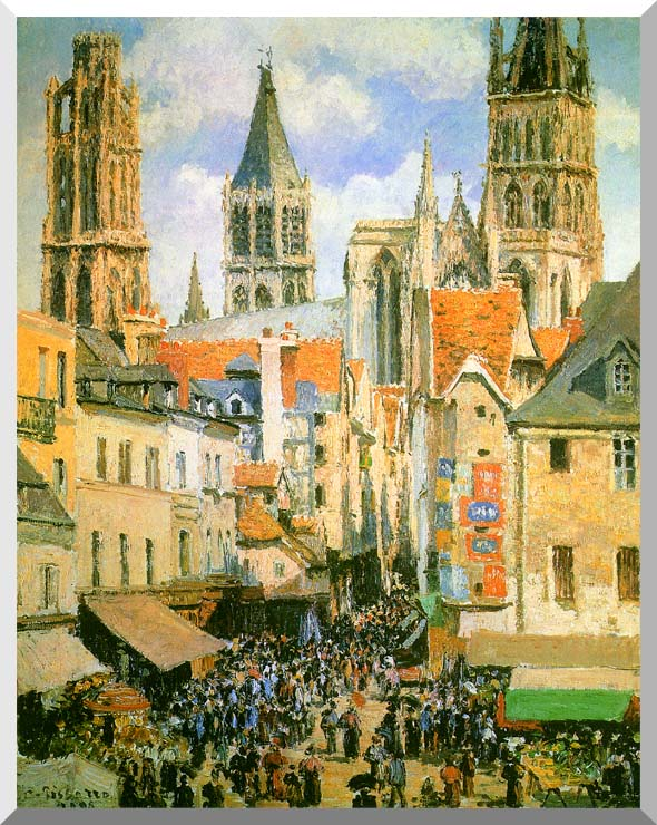 Camille Pissarro The Old Market-Place in Rouen and the Rue de l'Epicerie stretched canvas art print