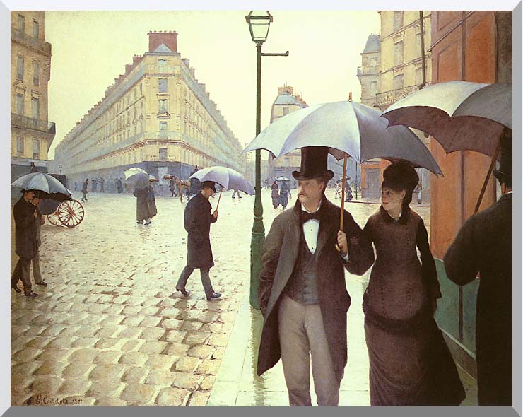Gustave Caillebotte Paris, A Rainy Day stretched canvas art print