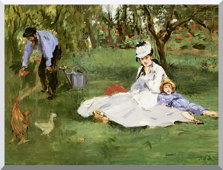 Edouard Manet The Monet Family in their Garden at Argenteuil stretched canvas art print