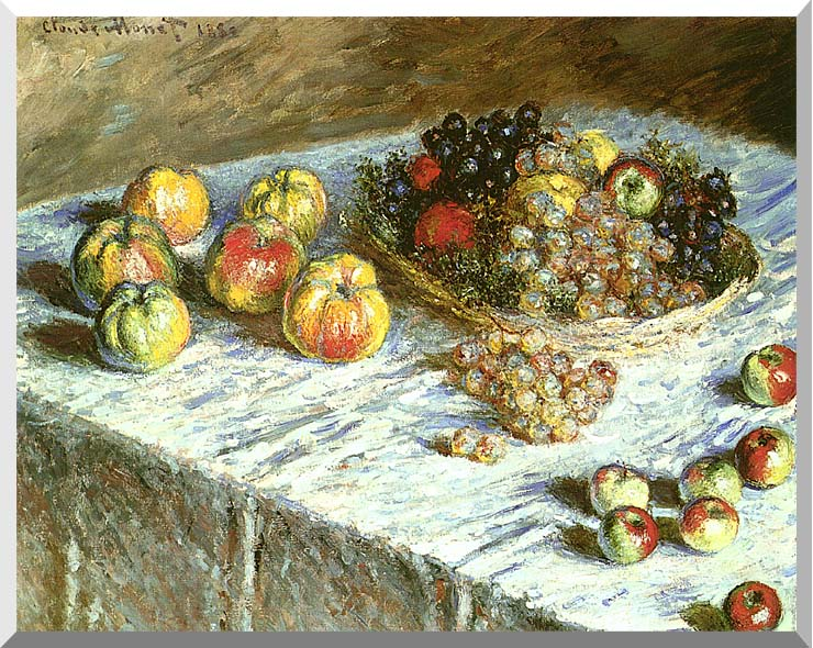 Claude Monet Still Life: Apples and Grapes stretched canvas art print