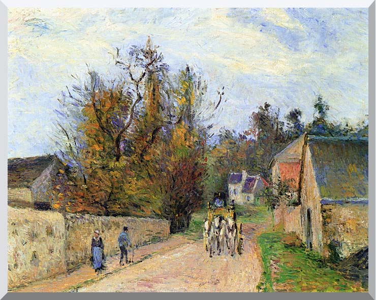 Camille Pissarro The Mailcoach - The Road from Ennery to the Hermitage stretched canvas art print