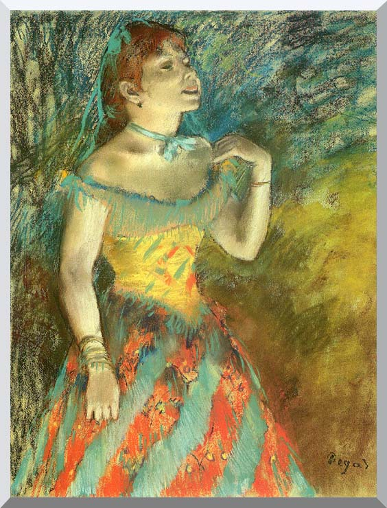 Edgar Degas The Singer in Green stretched canvas art print