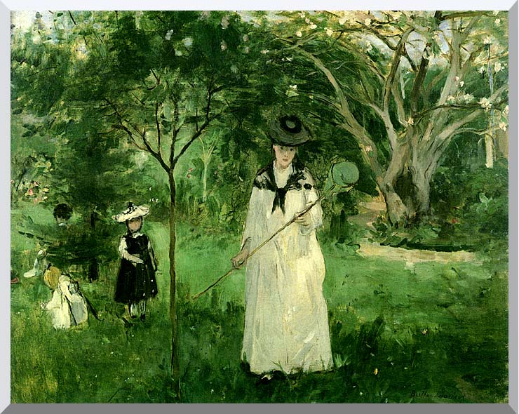 Berthe Morisot Chasing Butterflies stretched canvas art print