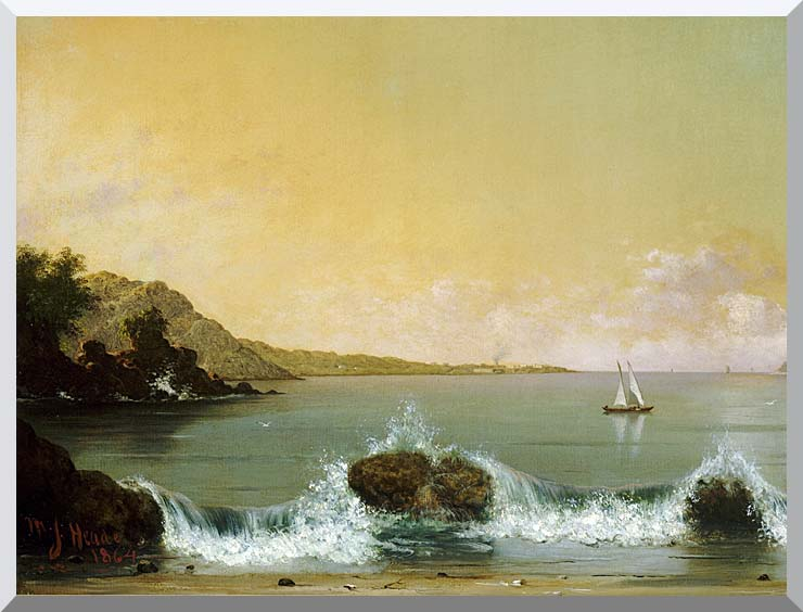 Martin Johnson Heade Rio de Janeiro Bay (left detail) stretched canvas art print