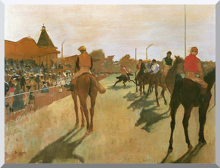 Edgar Degas Racehorses Before the Stands stretched canvas art print