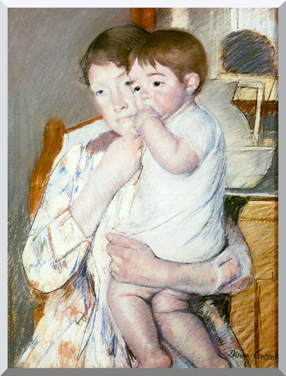 Mary Cassatt Baby on His Mother's Arm stretched canvas art print