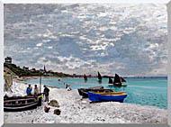 Claude Monet Beach At Sainte Adresse stretched canvas art