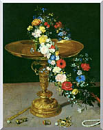 Jan Brueghel The Elder Gold Cup With Flower Wreath And Jewel Box Portrait Detail stretched canvas art