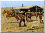 Frederic Remington The Coming And Going Of The Pony Express stretched canvas art
