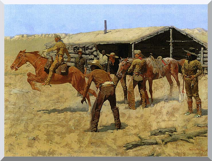 Frederic Remington The Coming and Going of the Pony Express stretched canvas art print