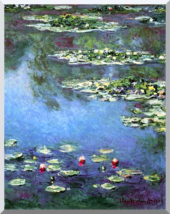 Claude Monet Water Lilies 1906 (portrait detail) stretched canvas art print