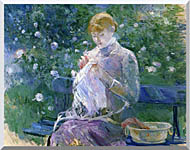 Berthe Morisot Pasie Sewing In The Garden At Bougival stretched canvas art