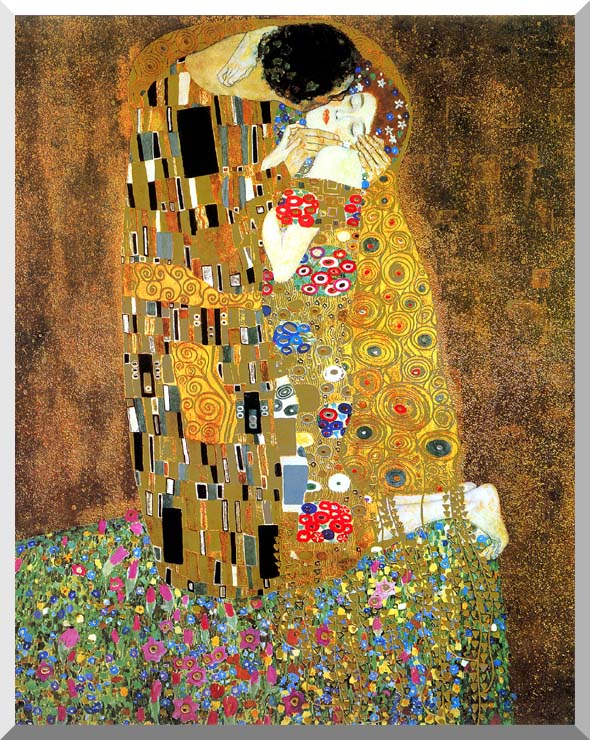 Gustav Klimt The Kiss (detail) stretched canvas art print