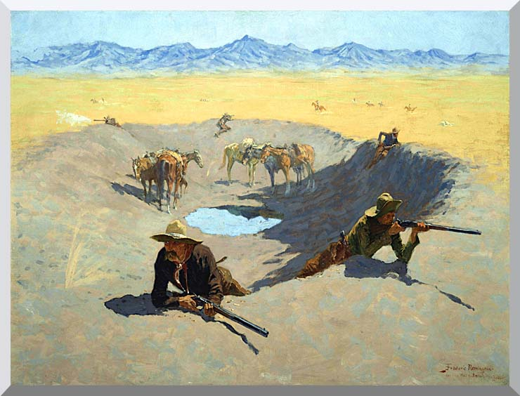 Frederic Remington Fight for the Waterhole stretched canvas art print