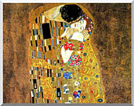 Gustav Klimt The Kiss Landscape Detail stretched canvas art