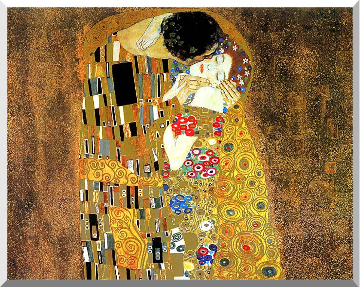 Gustav Klimt The Kiss (landscape detail) stretched canvas art print