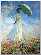 Woman with Umbrella Turned to the Right Stretched Canvas Art