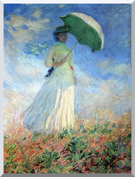 Claude Monet Woman with Umbrella Turned to the Right stretched canvas art print