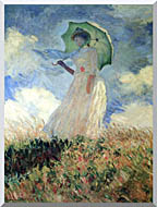 Woman with Umbrella Turned to the Left Stretched Canvas Art
