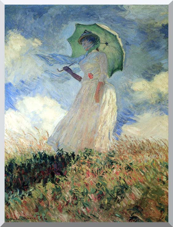 Claude Monet Woman with Umbrella Turned to the Left stretched canvas art print