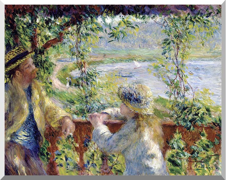 Pierre Auguste Renoir By the Lake stretched canvas art print