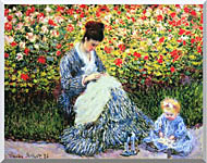 Claude Monet Camille Monet And Child In The Garden stretched canvas art