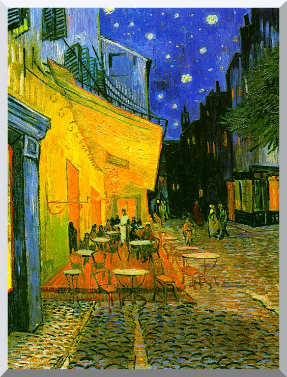Vincent van Gogh Cafe Terrace at Night (detail) stretched canvas art print