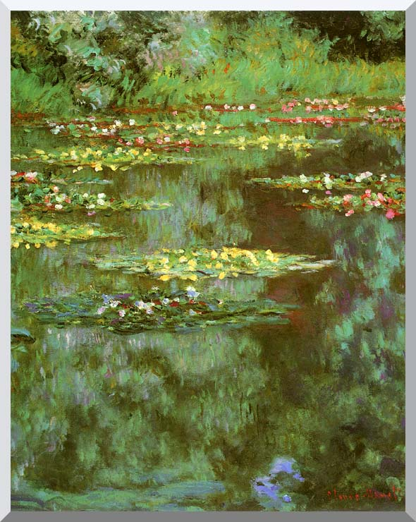 Claude Monet Nympheas 1906 (portrait detail) stretched canvas art print