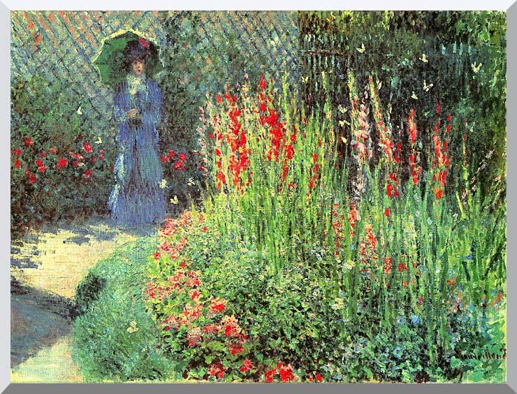 Claude Monet Gladioli stretched canvas art print