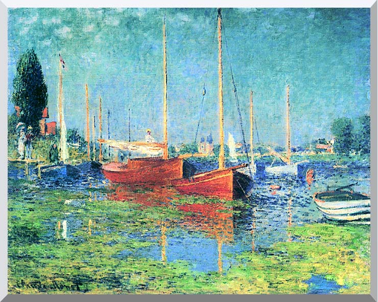 Claude Monet Red Boats, Argenteuil stretched canvas art print
